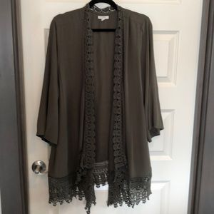 MAURICES Hunter Green Lace Trimmed Cardigan